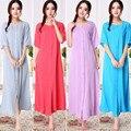 Envío libre Más El tamaño de la corto-manga 100% algodón femenino camisón largo hebilla bordado ropa de dormir derlook L-2XL