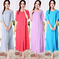 Frete grátis Plus Size verão de manga curta ultra-longa 100% algodão camisola feminina fivela bordado sleepwear derlook L-2XL