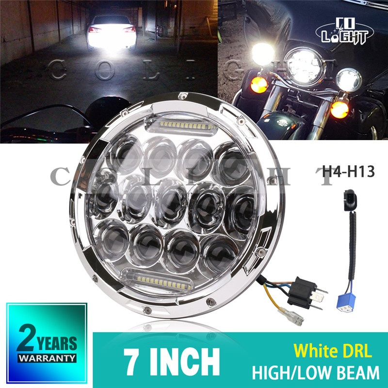 CO LIGHT 7inch LED Headlights 75W H4 Hi/low 4x4 Offroad Led Angle Eye Auto Headlight DRL For Jeep Motorcycle Lada Niva Harley co light 1 pair led headlight 4x6 45w high low fog lamp for kenworth gmc chevrolet ford jeep lada niva 4x4 offroad 9 32v 3000k