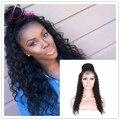 As mulheres negras do cabelo humano encaracolado perucas rabo de cavalo alto perucas cheias do laço brasileiro do cabelo virgem peruca dianteira do laço do cabelo do bebê em torno para venda