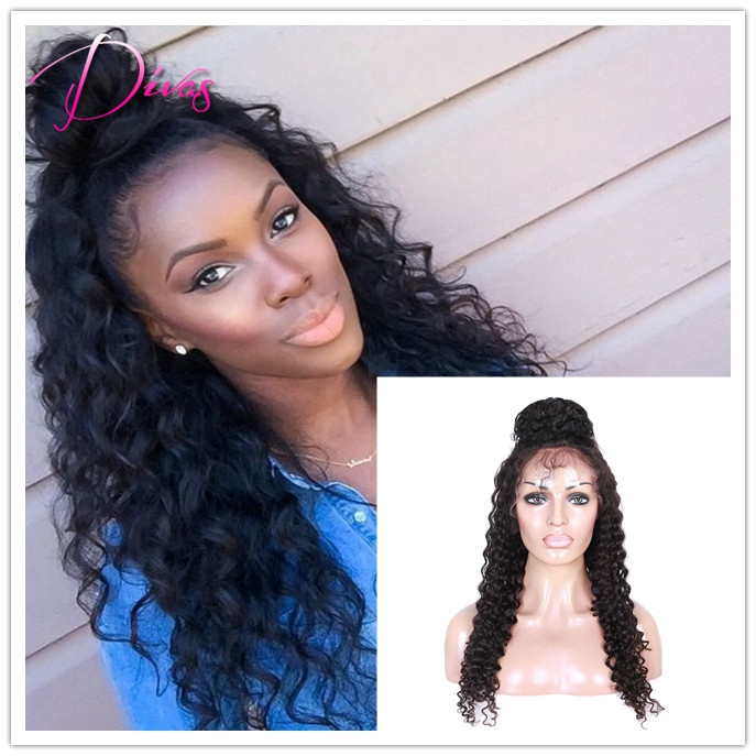 Black Women Human Hair Curly Wigs High Ponytail Full Lace Wigs -2656