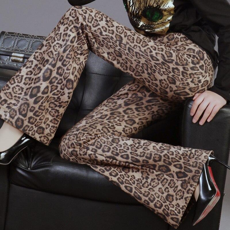 LANMREM 2019 spring new retro leopard elastic straight vertical   wide     leg     pants   high waist micro bell   pants   women's trousers YG35