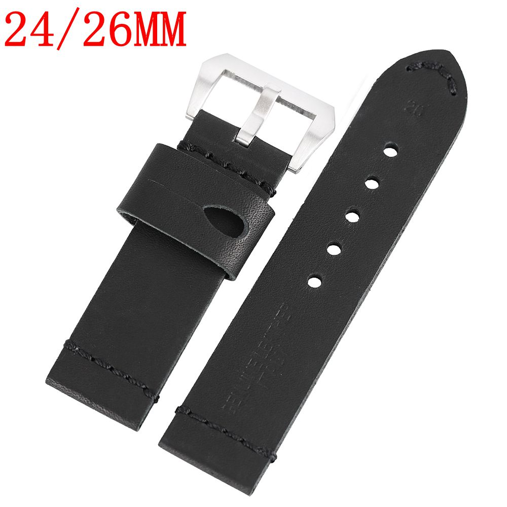 YISUYA Watch Band High Quality Genuine Leather Wrist Watch Strap Smooth Soft + 2 Spring Bars Stainless Steel Buckle 24/26MM black 20mm band width rubber wrist watch band strap stainless steel pin buckle 2 spring bars
