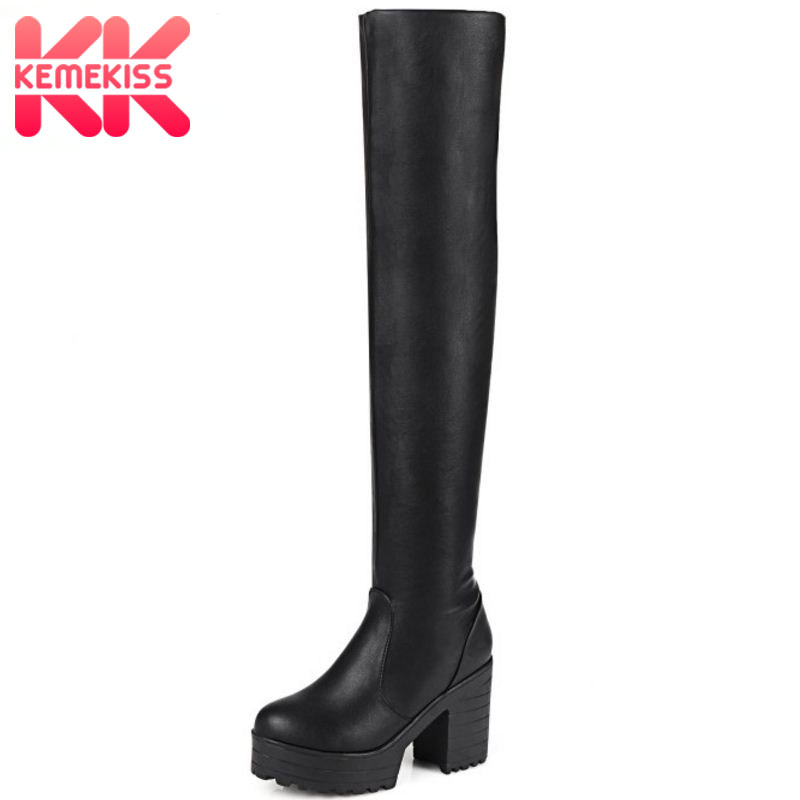 KemeKiss Women Fashion Platform Round Toe Over Knee Boots New Ladies Thick Heel Knight Botas Footwear Shoes Woman Size 34-43 стоимость