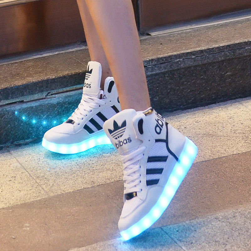 Hip hop ghost step shoe soles glowing fluorescent LED light shoes men and  women couple shoes USB charging high shoes on Aliexpress.com  c4c6be460a