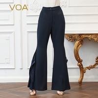 VOA шелк офисные брюки клеш Для женщин Базовая Формальное длинный плюс брюк Размеры 5XL тонкий сплошной Темно синие сексуальный разрез середи