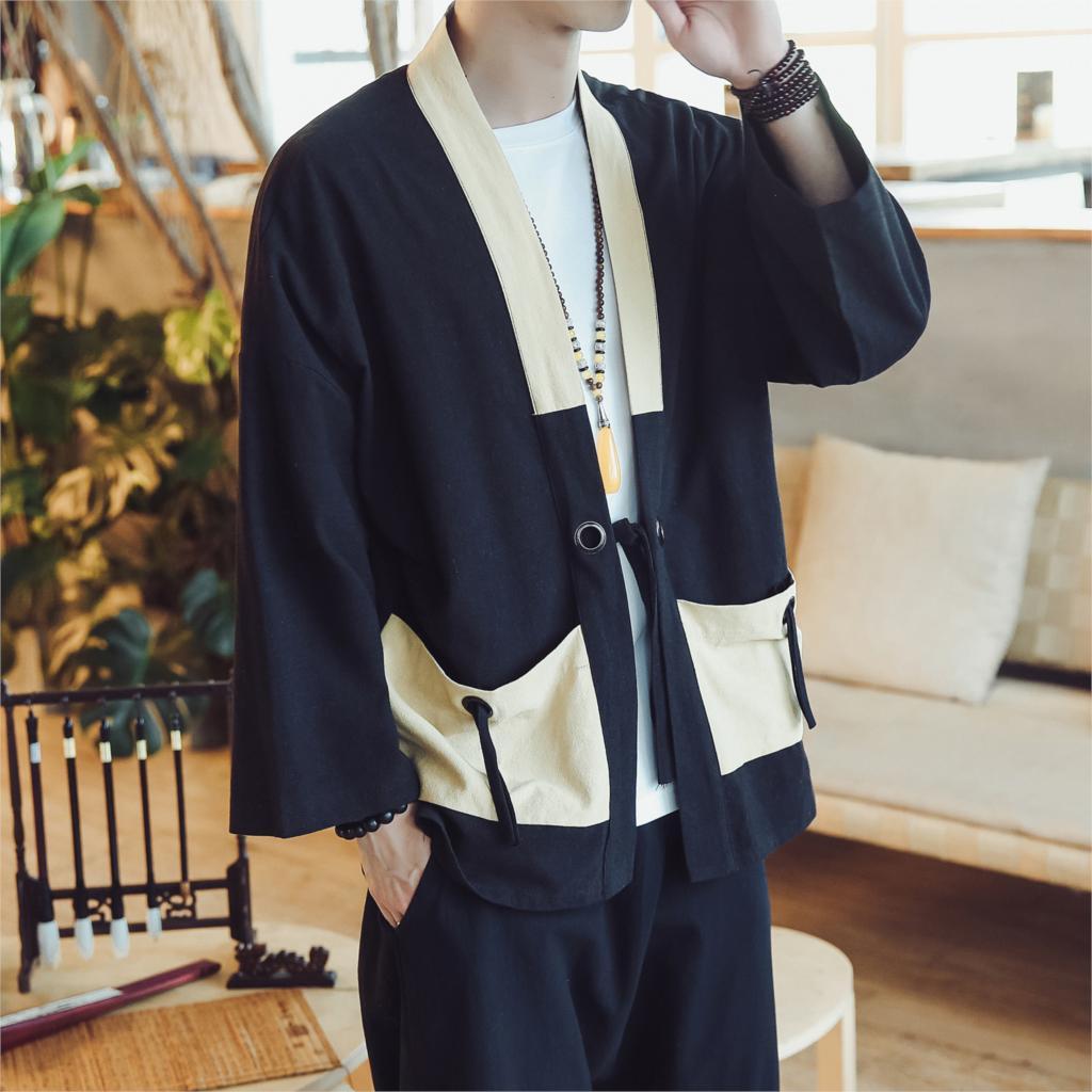 2019 Mens Harajuku Ukiyo Fish Print Kimono Cardigan Jackets Japanese Style Casual Streetwear Coat Gown