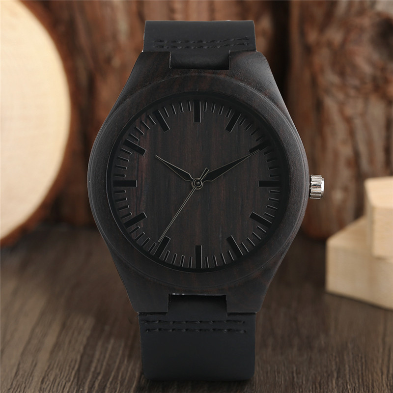 Modern Full Black Men's Ebony Wood Watch Quartz Hand-made Bamboo hombre Wristwat