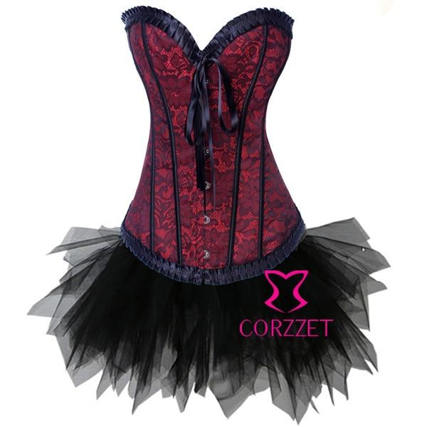 Corzzet Victorian Red Lace Jacquard Steel Boned Corset&Skirt Burlesque Cospaly Corset Set Waist slimming Corpetes E Espartilhos
