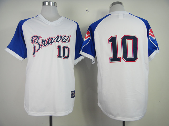 Atlanta Braves Jersey Shirt #10 Chipper Jones Jerseys White Turn Back  -  Best Store John store