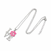 Skyrim Love Paw Print Necklace Kolye Zinc Alloy Rhodium Plated Pink Enamel Jewelry Women Girl Best Friend Gifts