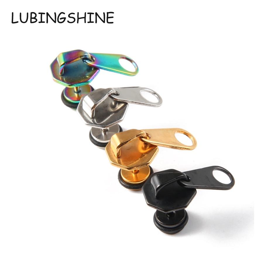 LUBINGSHINE Four Color Zipper Design Women Men Earrings Hip Hop Style Hot Sale Female Ear Stud Punk Earring Jewelry E766