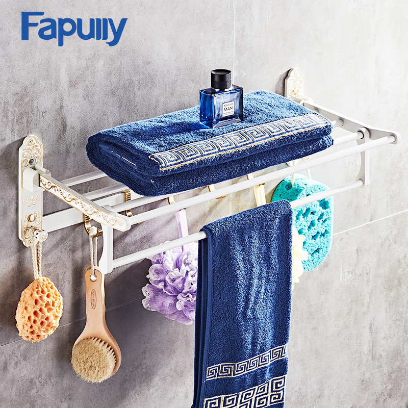Fapully Bathroom Shelf White Movable Bath Towel Holder Rack Wall Mounted with Hook Bathroom Accessories wall mounted 5 hook rack