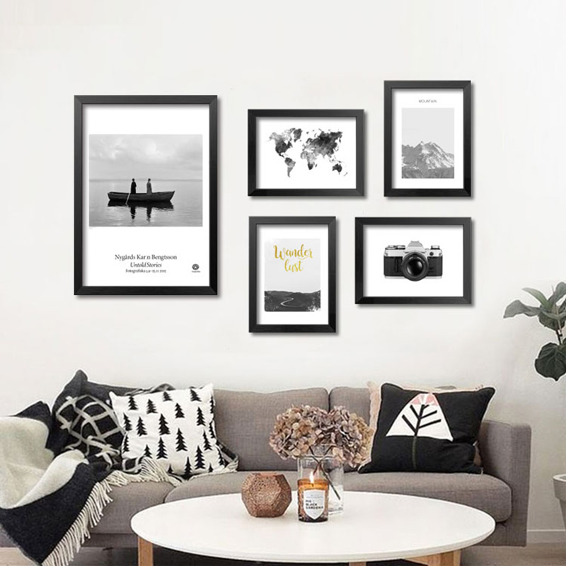 Wall Pictures For Living Room Wall Art Canvas Painting Grey Map Posters And Prints Nordic