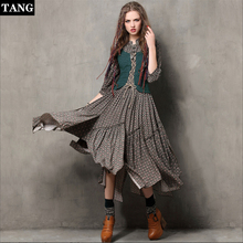 New High Quality Explosions Leisure Vintage color  buckle embroidery Dresses Women plaid Spring Casual Shirt Dress