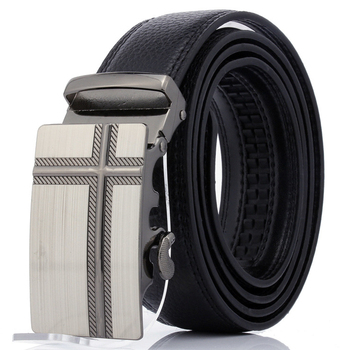 Designer Adjustable Buckle - Automatic Sliding Ratchet Leather Belt