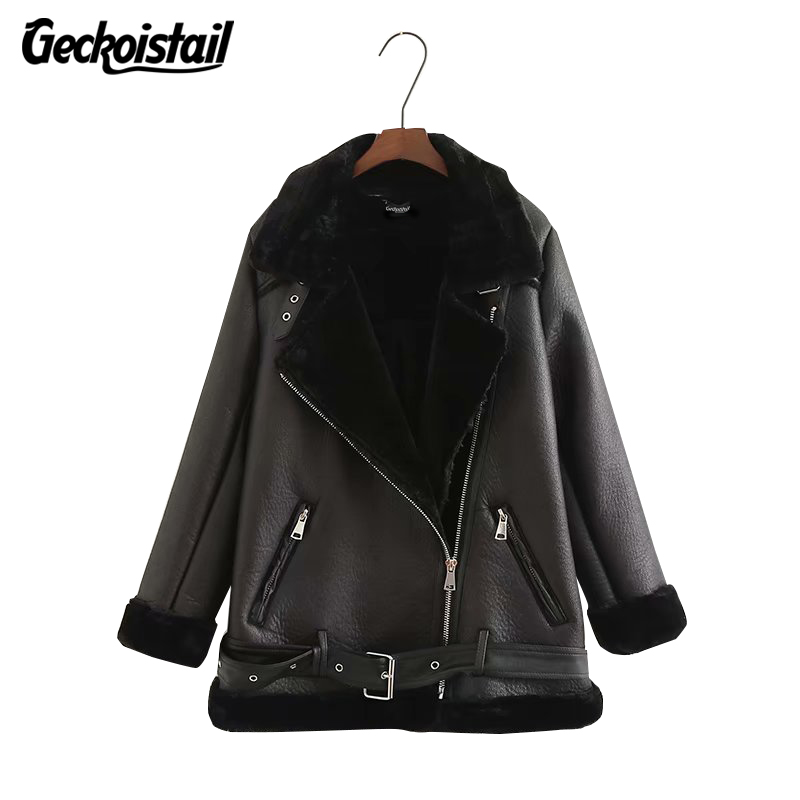 Geckoistail Women   Suede   Rabbit hair Jacket Coats 2018 Winter Zip Long Sleeve Fashion Brand Female   Leather     Suede   Outerwear