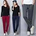 M-6XL 4 Colores de la Mujer Pantalones de Harén Más Tamaño Pantalones Delgados de Moda Casual Losse Pantalones Elásticos Femeninos de La Cintura para mujeres