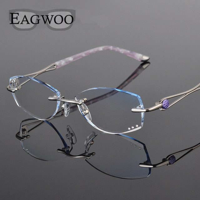 8f077ea9e3 Metal Alloy Eyeglasses Women Rimless Prescription Reading Myopia  Progressive Glasses Yellow Spectacle with Color lenses 258033