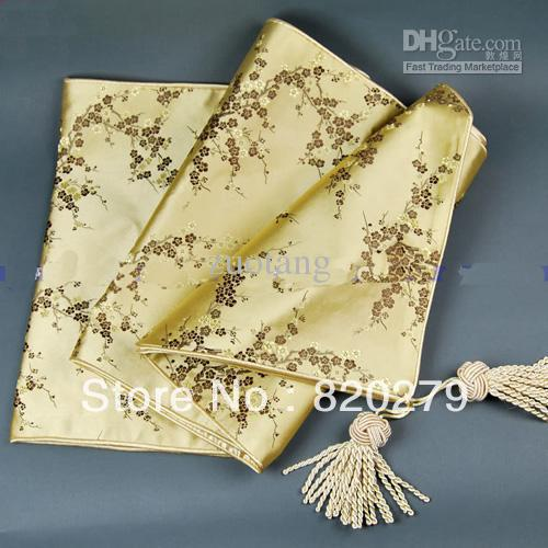 Beautiful 120 Inch Extra Length Luxury Festive Decorative Table Runners Weddings  Reception Damask Cherry Blossoms Table Cloth Multicolor