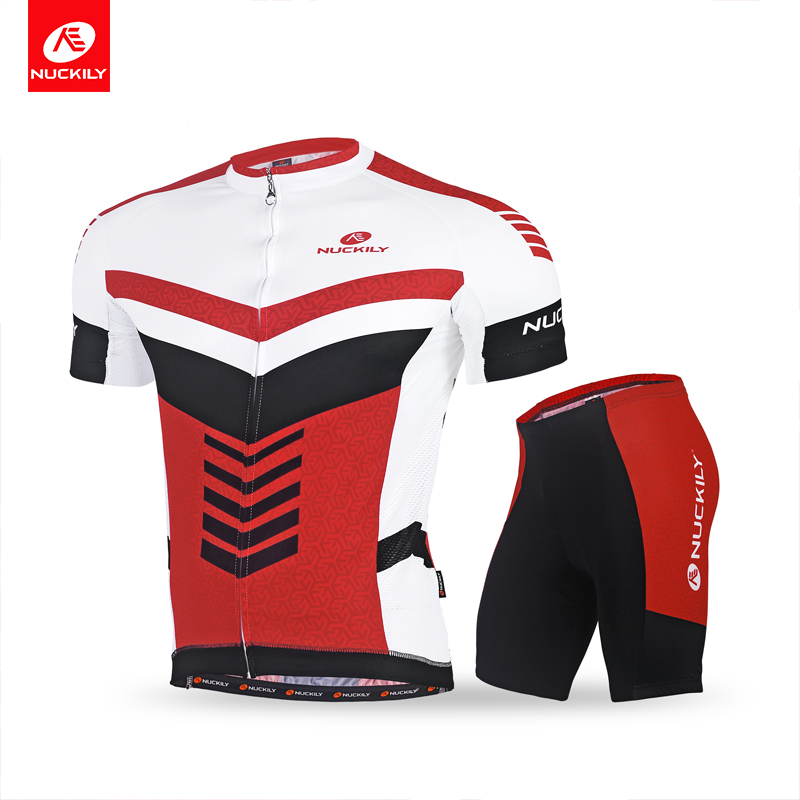NUCKILY Sublimation Cycling Jersey Short Sleeve and Durable Padded Short for Men New Material Cycling Summer Suit MA024MB024 nuckily summer short sleeve jersey with short new style outdoor cycling suit for men ma017mb017