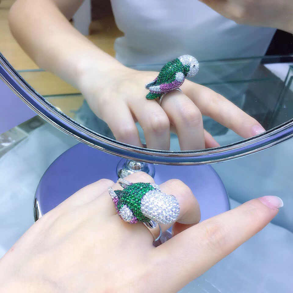 Qi Xuan_Fashion Jewelry_New Parrot Index Finger Rings_S925 Solid Sliver แฟชั่น Parrot Rings_Manufacturer โดยตรงขาย