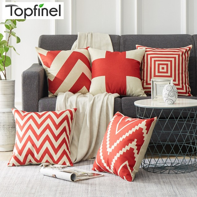 Red Striped Geometric Decorative Throw Pillows Case for Sofa Seat Cotton Linen Cushion Cover Creative Home Decoration 45X45cm