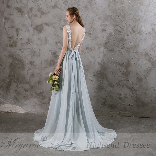 Online Shop Mryarce Real Picture 2017 Sleeveless Dusty Blue Wedding ...