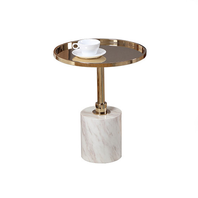 Deluxe Marble End Table for Living Room Marble Base Round Side Table Small Metal Coffee Table