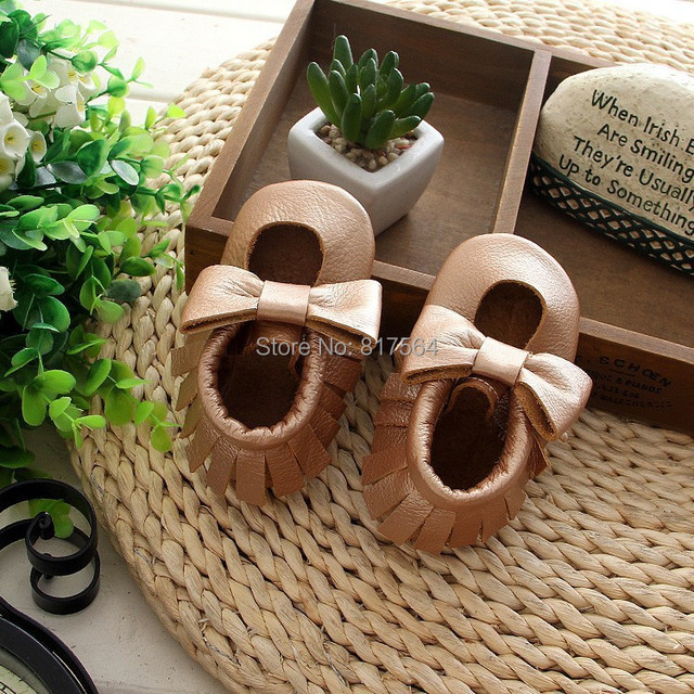 New Style Genuine Cow Leather Baby Moccasins with bow Soft girls Moccs Baby Newborn Baby firstwalker Anti-slip Infant Shoes