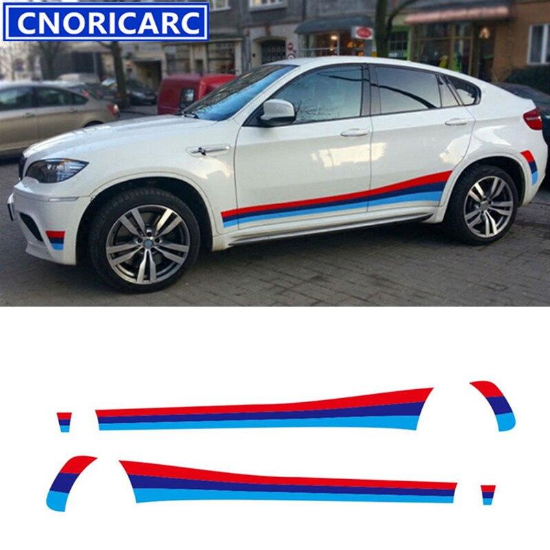 CNORICARC Sport style voiture jupes latérales décalcomanie taille ligne autocollants pour BMW X6 X4 tricolore des deux côtés autocollants en vinyle