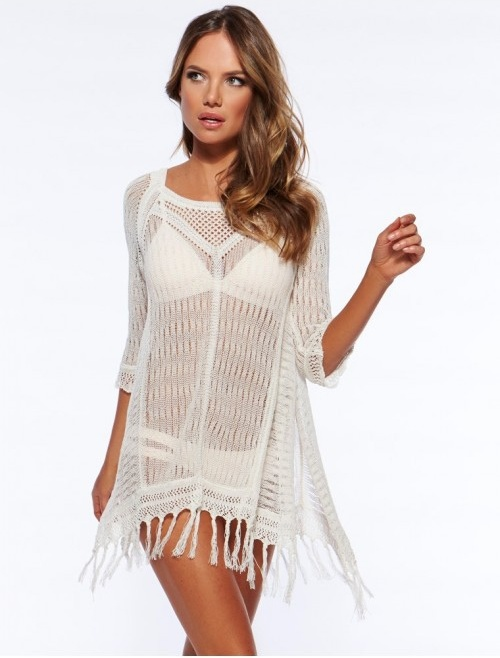 New 17 Beach Tunic Sexy Cover Up Women Beach Blouse Crochet Pareo Swimsuit Cover-ups Beach Dress Summer Beach Wear Swimwear 4