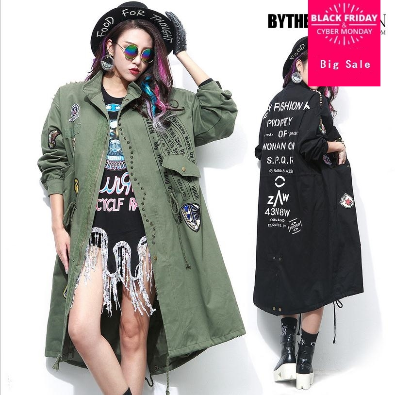 Plus size 2018 autumn women's Thai fashion brand letters pattern 3D beading loose coat female loose   trench   w1528 free shipping