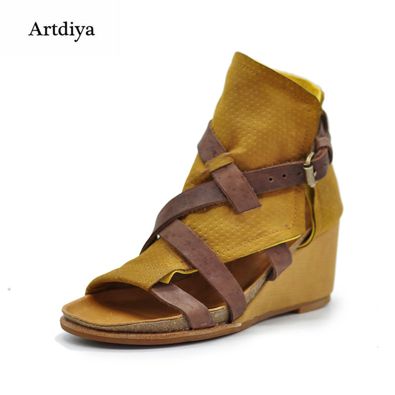 b8f7e21cde8 Artdiya Original Retro Wedges Heels Women Sandals Open-toed High Heels  Roman Sandals Comfortable Genuine Leather Handmade Shoes