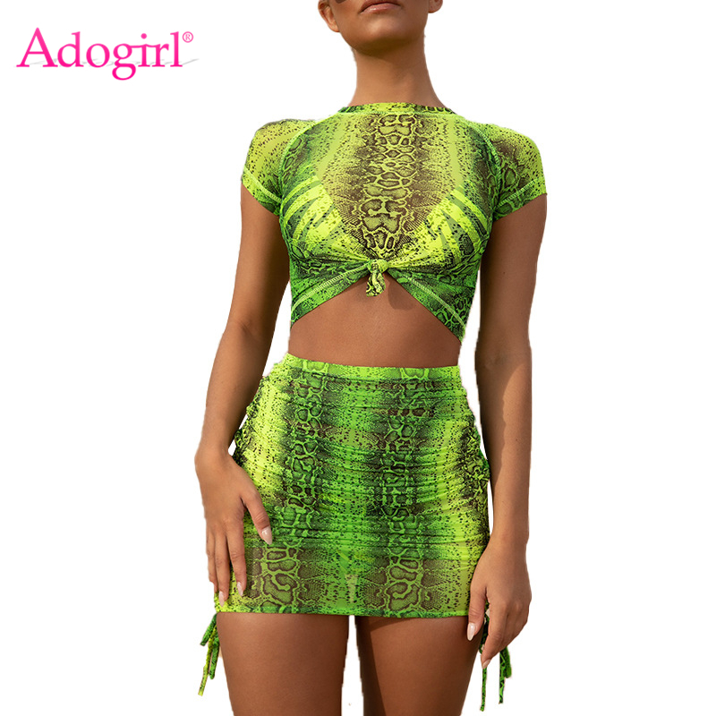 Adogirl Fluorescence Green Pink Snakeskin Print Two Piece Set Dress Short Sleeve T-shirt Crop Top + Bodycon Mini Skirt Sexy Suit