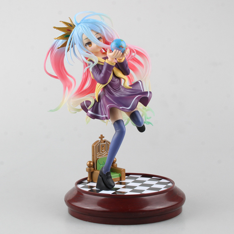 No Game No Life 2 1:7 Painted Figure Siro sexy Girl Shiro cute dolls Garage Kit Brinquedos Anime Action Figure Toys 22cm