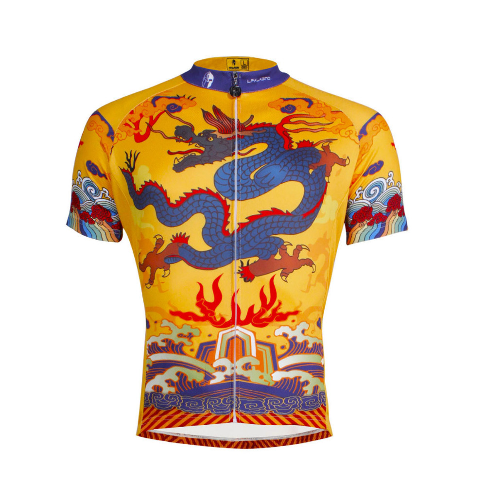 Free Shipping Chinese Dragon Totem Pattern Mens Polyester Short Sleeve Cycling Jersey Br ...