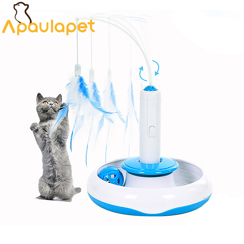 APAULAPET Pet Cat Electric Toys Teaser Interactive Cats Toy Rotating Designed Funny Feat ...