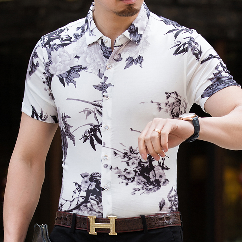 2018 New Spring Summer Fashion Mens Casual Social Short Sleeve Shirts Mens High Quality Hawaiian Beach Shirt Fitness Homme
