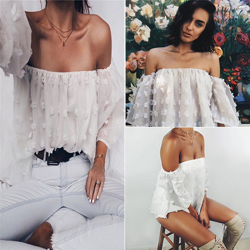 HTB1IGs8QFXXXXXdXpXXq6xXFXXXR - Sexy Off Shoulder Women Puff Sleeve 3D Floral
