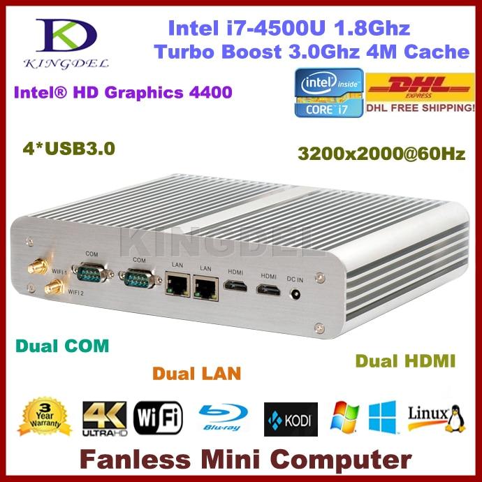 3 Year Warranty 2016 New Mini PC, HTPC, Intel i7-4500U Turbo Boost 3.0GHz, 8GB RAM+120GB SSD, WiFi, Dual HDMI+LAN+COM, Windows 7