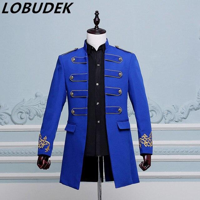 long blue jacket Punk male prom wedding groom stage DS costume singer nightclub bar show jazz Hip Hop performance outerwear coat