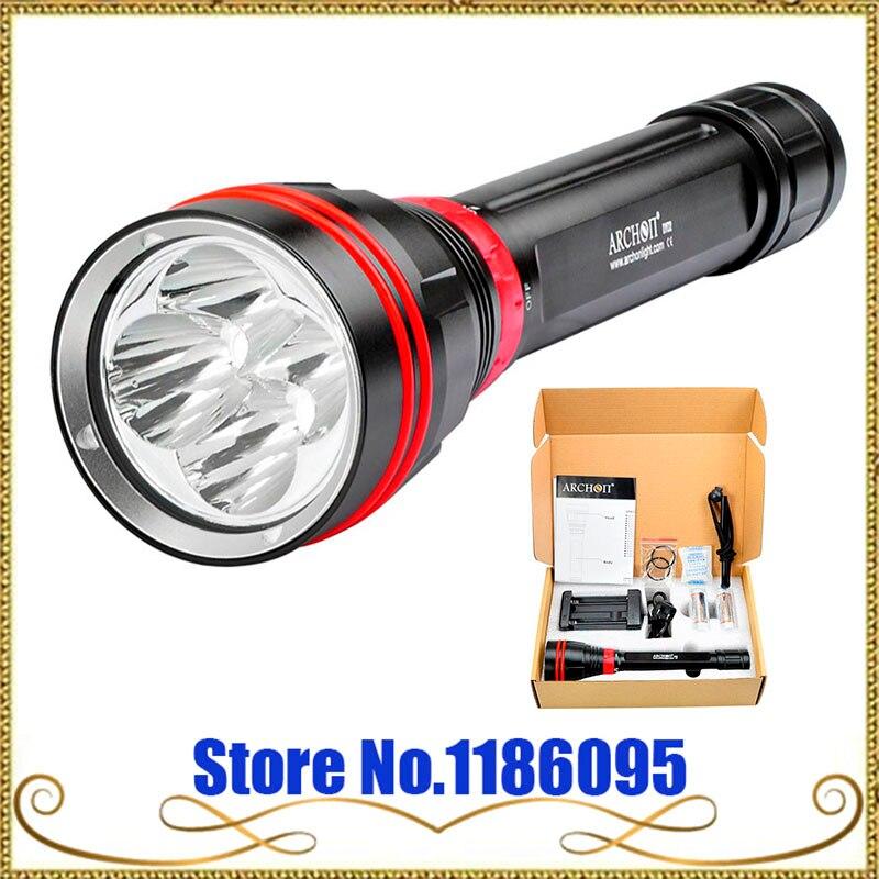 Livraison gratuite Archon DY02 DY02-W 4000 lumens 6500 K Lumière Plongée Sous-Marine Torche avec Batterie et Chargeur Inclus