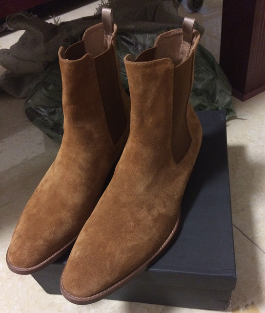 High End Handmade Luxury Slim Slip On Brown Chelsea Men Boots Point Toed Wedge Comfortable Causal Denim Boots