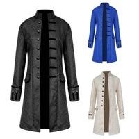 Autumn Winter Explosive Jacquard Fabric Men's Jacket Windbreaker Long Steampunk Retro Stand Collar Jacket Long Coats for Men