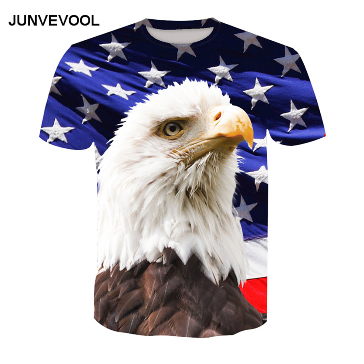Harajuku Mens T-shirt USA America Flag Eagle 3D Printed tshirts Mens Summer Hip-hop Fitn ...