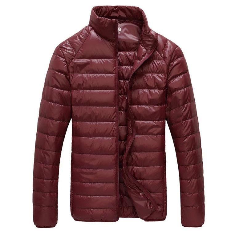 Мужская зимняя куртка ультра светильник 90% белый утиный пух куртки повседневное портативное зимнее пальто для мужчин размера плюс 4XL 5XL 6XL - Цвет: Wine red