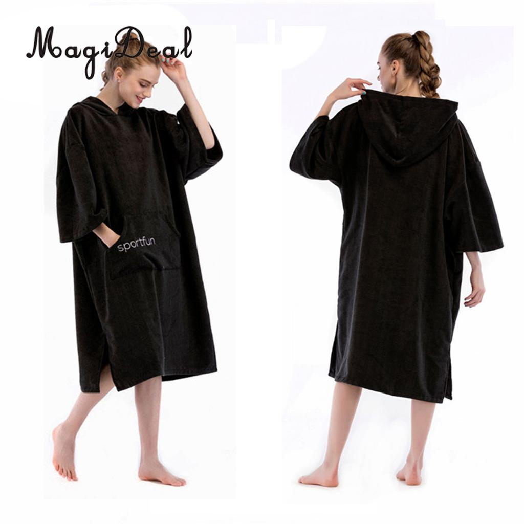 Adult Large Hooded Towel Change Robe Beach Swimming Poncho Suitable for Men and Women Surfing Swimming Diving Suit