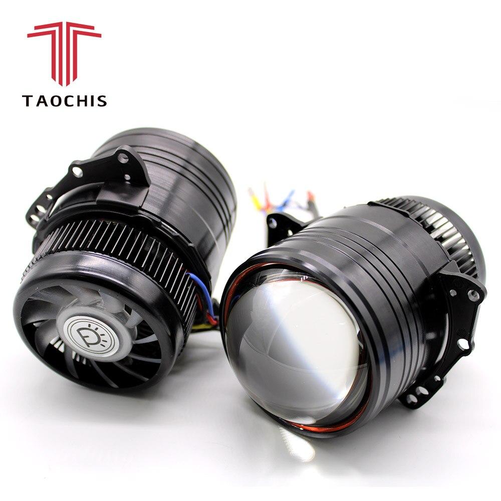 TAOCHIS 3.0 pouces voiture Bi LED Projecteur phares rénovation Bi-LED Lentille H4 avec feux de route et feux de croisement rapide lumineux LHD