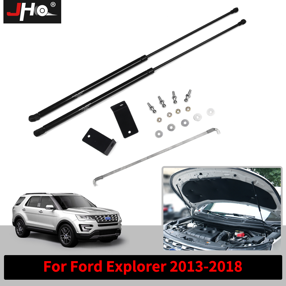 JHO 2pcs Front Hood Lift Assist System Supports Gas Shock Absorber Struts Bar For Ford Explorer 2013 2014 2015 2016 2017 2018 встраиваемый электрический духовой шкаф bosch hbg 517 bs 0r